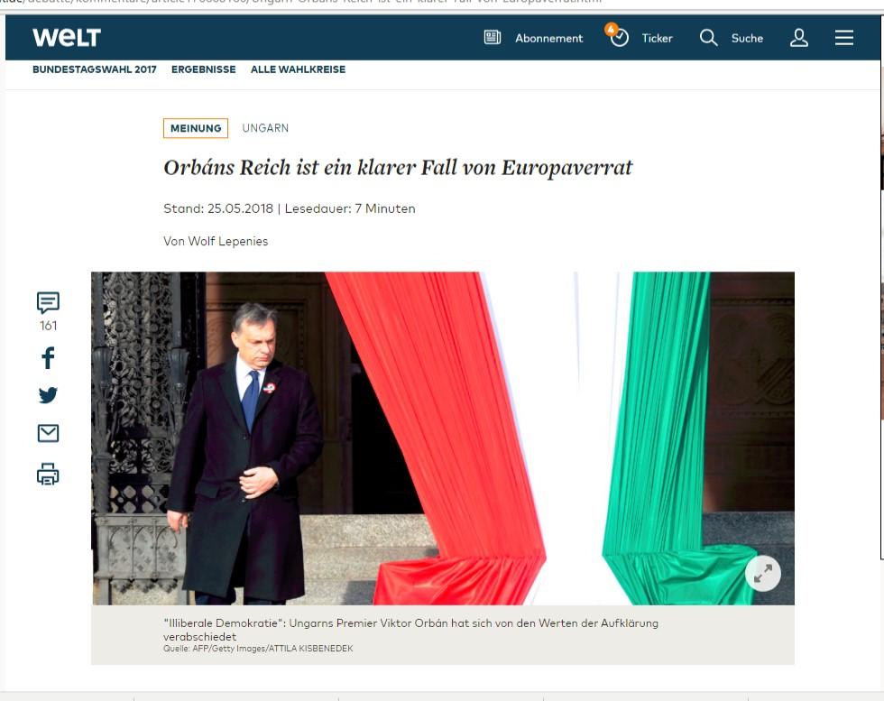 """Halbwahrheiten über Ungarn in der Tageszeitung """"Die Welt"""" – Leserbrief des ungarischen Botschafters in Berlin"""