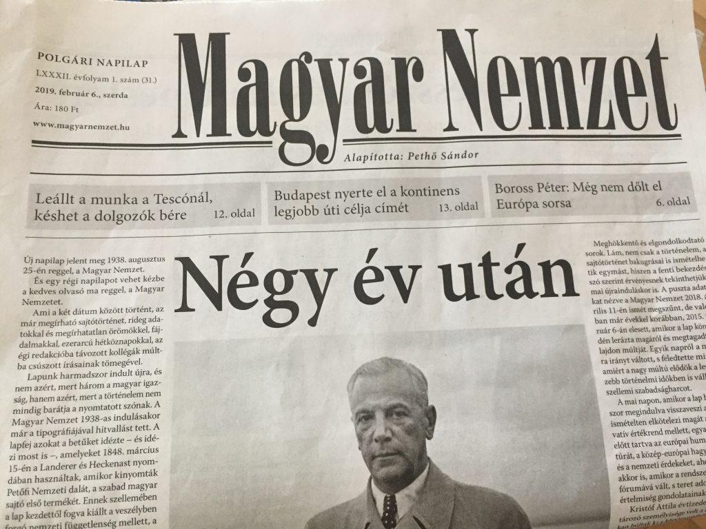 """""""Magyar Nemzet"""" startet neu post's picture"""