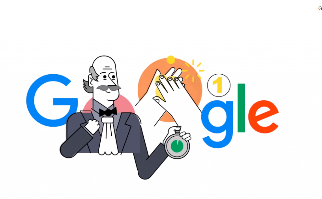 Ungarischer Ignác Semmelweis, der das Händewaschen erfand, von Google geehrt
