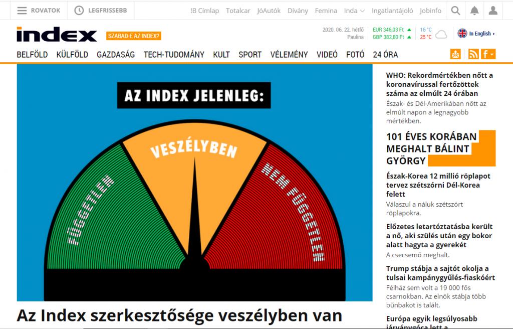 Ungarns größtes Nachrichtenportal index.hu sieht ihre Unabhängigkeit bedroht