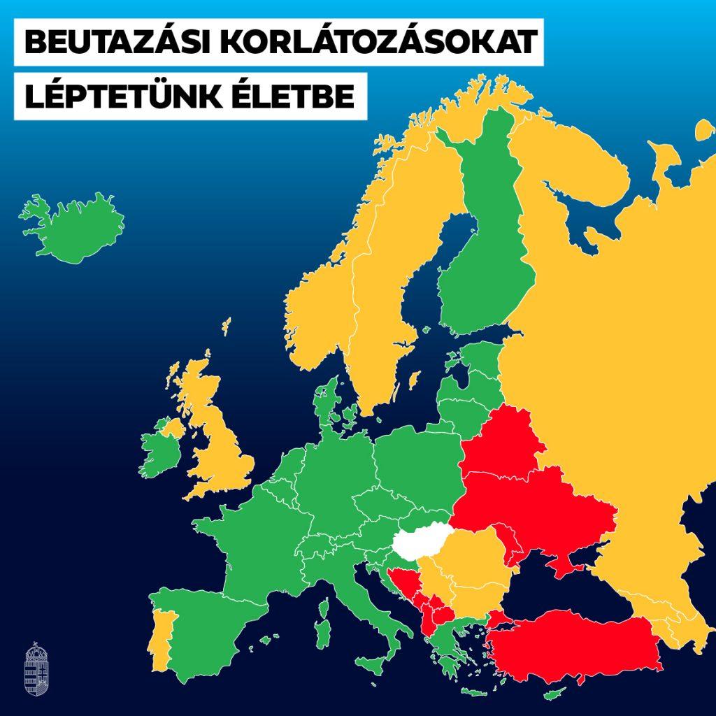 Karte über die Einreisebeschränkungen