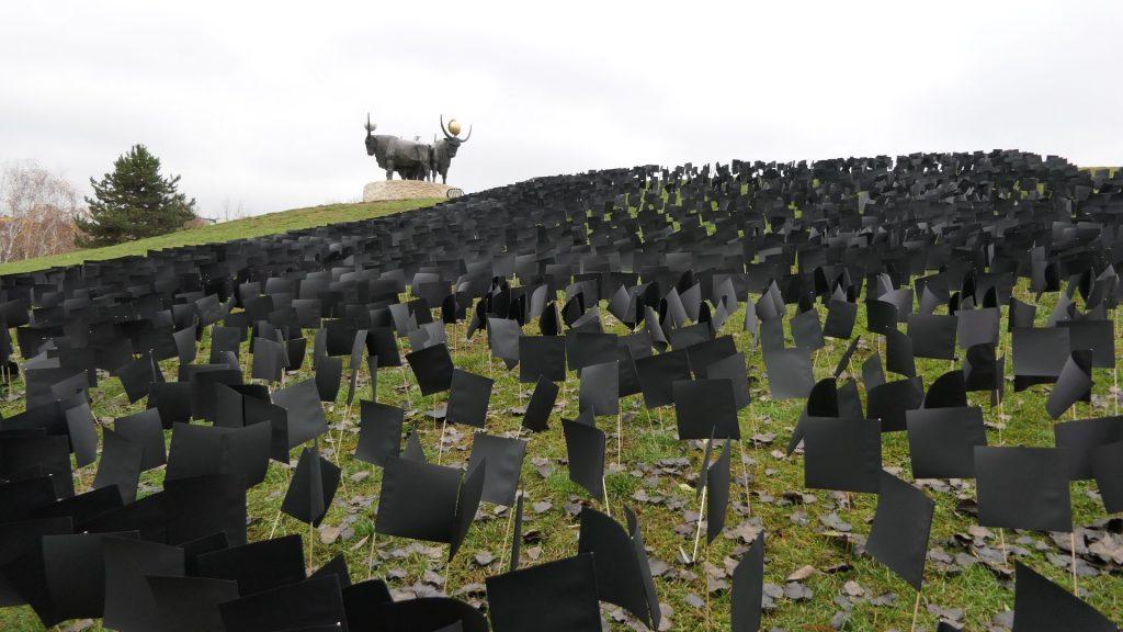 Oppositionspartei DK hat 6.000 schwarze Flaggen auf einen Hügel gesetzt