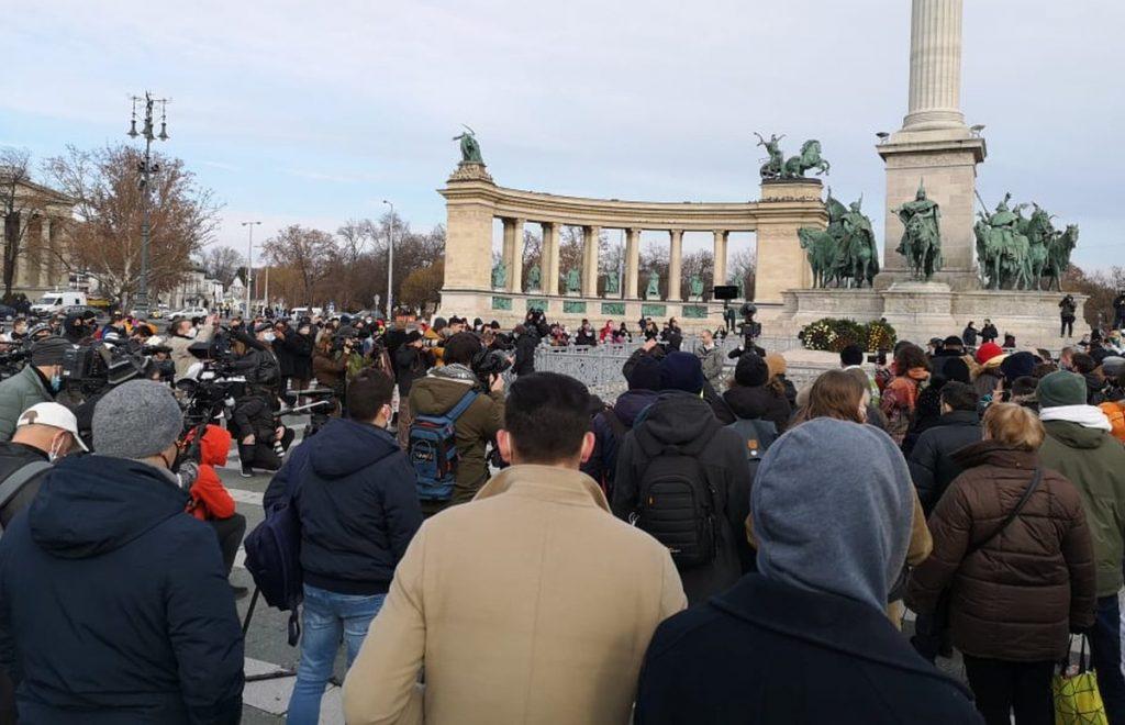 Protest in der Budapester Innenstadt gegen Corona-Beschränkungen